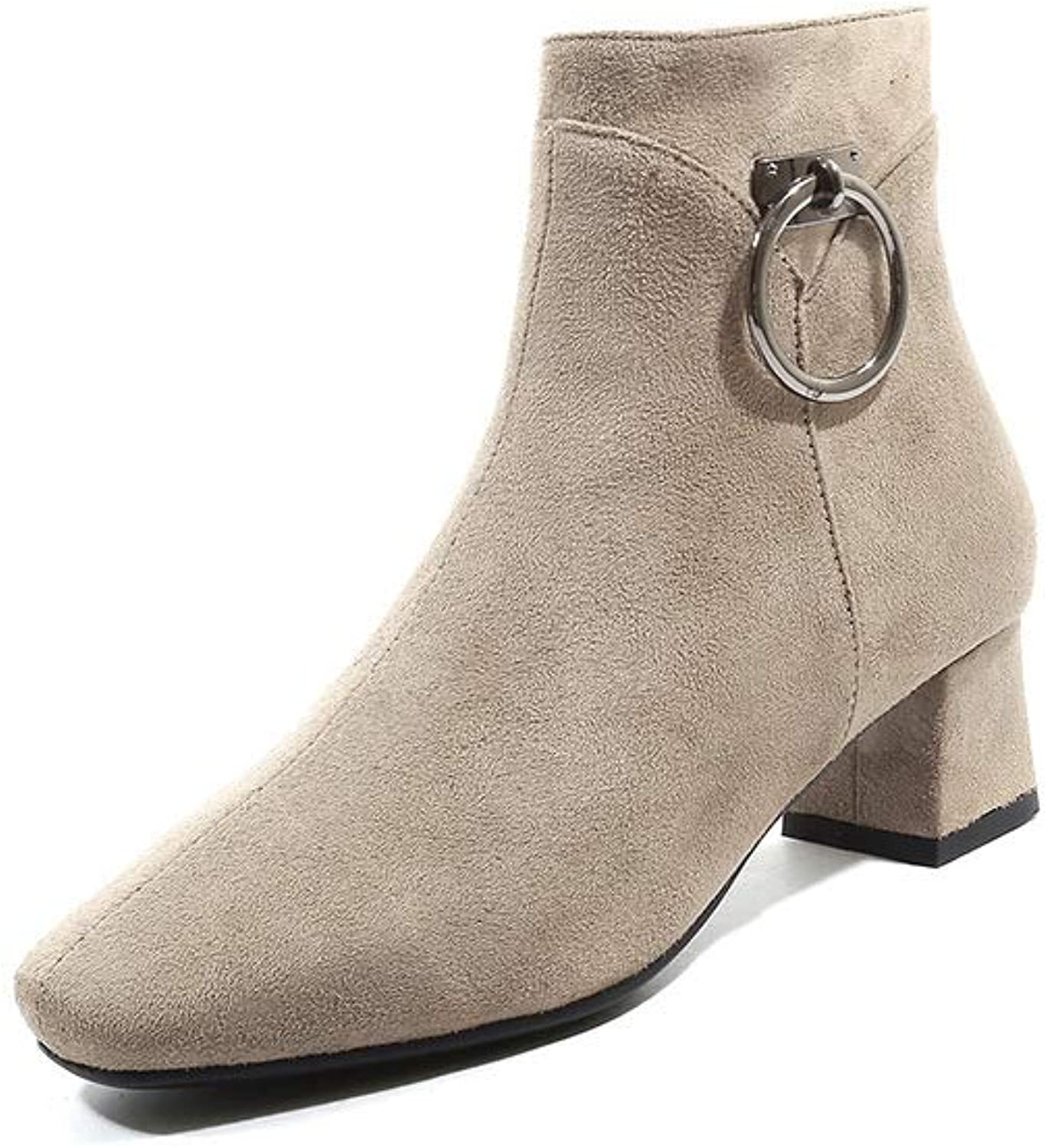 Women Suede Martin Boots 2018 Winter Square Head Fashion Ankle Boots Size 3343