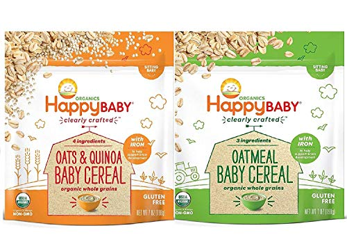 Happy Baby, Clearly Crafted Cereal (VARIETY PACK 2PK) - [Organic Whole Grain Oats and Quinoa] & [Organic Whole Grain Oatmeal], 7 Ounce, Organic Baby Cereal in a Resealable Pouch, with Iron to Support