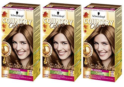 Schwarzkopf Country Colors Farben Col 49 Cognac Warm Braun X 3 Packungen