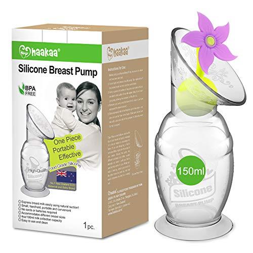 Haakaa tiralatte manuale silicone con base a ventosa e tappo a fiore, senza BPA(5oz/150ml viola)