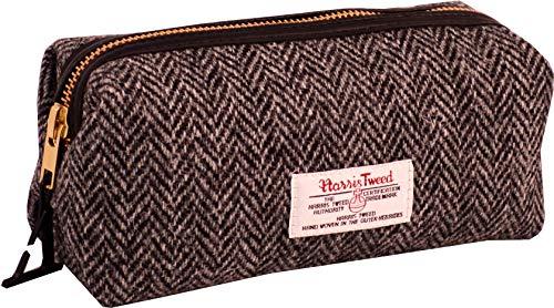 Vagabond Bags Ltd Harris Tweed Herringbone Travel Pouch Trousse de Toilette, 20 cm, Noir (Black & White Tweed)