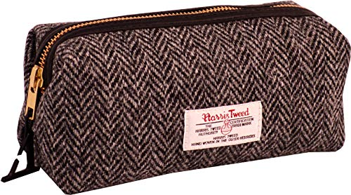 Vagabond Bags Ltd Harris Tweed Herringbone Travel Pouch Kulturtasche, 20 cm, Schwarz (Black & White Tweed)