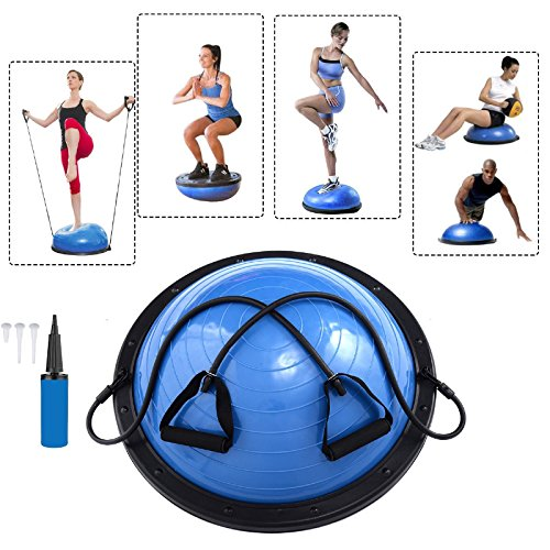Baumarktplus Yoga Gymnastik Balance Half Ball Trainingsball Gymnastikball Pink Blau Lila (Blau)