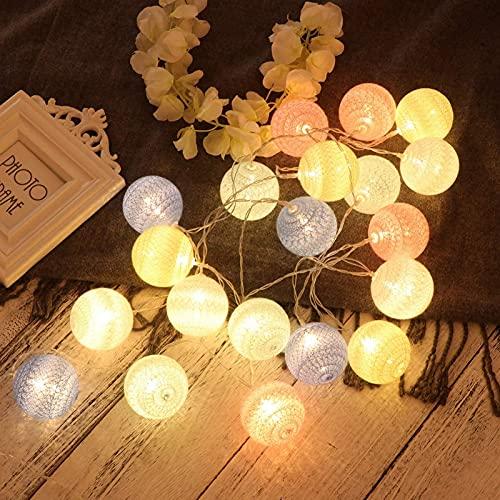 ZJJZ Bolas de algodón navideñas Cadena de Luces Funciona con Pilas, LED Luces de Cadena de Hadas Luz de Bola de Globo para Navidad Boda Año Nuevo