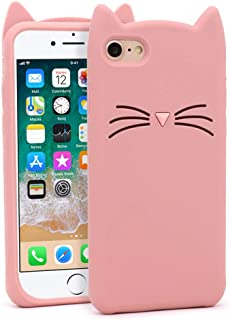 BEFOSSON for iPhone 7 / iPhone 8 Cute 3D Cartoon Animal Case for Girls Stylish Kitty Meow Mustache Cat Soft Silicone Rubber Protective Phone Cover Cases for iPhone 7 / iPhone 8 (Whisker Cat- Pink)