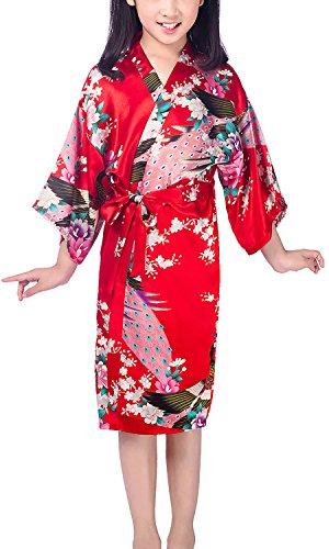 Dolamen Niños Niña Vestido Kimono Satén Camisón para Niña, Pavo Flores Robe Albornoz Ropa de dormir Pijama Spa natación cumpleaños (Tamaño 10: Para la altura 115-130 cm (45 '-51'), Rojo)