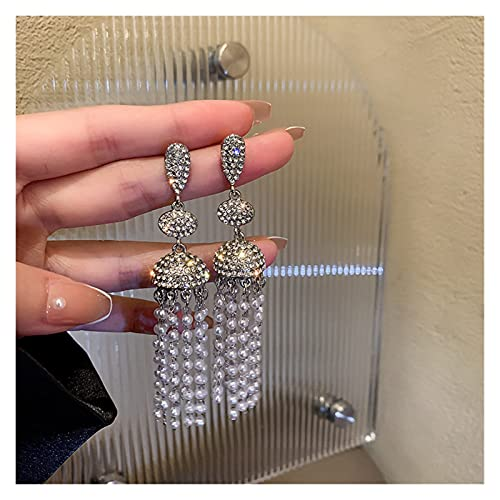 ACEACE Pendientes geométricos de Cristal de la Vendimia for Las Mujeres Larga Tassel Mini Beads Pendientes Pendientes Joyería (Metal Color : Silver)