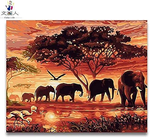 más vendido KYKDY diy Coloring paint By Numbers Animal Sunset Fotos Fotos Fotos de la manada de elefantes africanos Pinturas Por Numbers con el paquete de kits sobre lienzo, 4024 manada de elefantes, 60x75 sin marco  barato