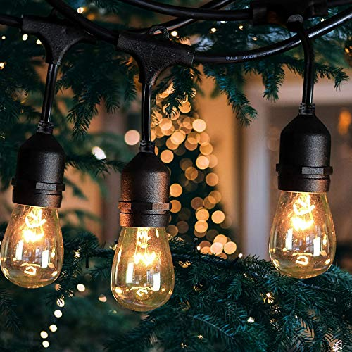 Outdoor String Lights 48Ft with 18 WaterproofEdison Bulbs Yard Lights Connectable Hanging Lights Decorative Café Garden Porch Backyard Party Deck Indoor Outdoor Use