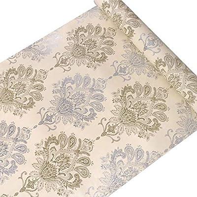 JAAMSO ROYALS Vinyl Damask Self Adhesive Peel and Stick Wallpaper/Contact Paper (200 X 45 cm, Multicolor, Self Adhesive Wallpaper)