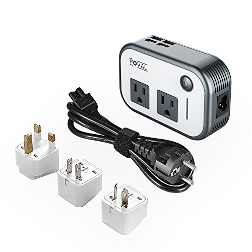 Foval Power Step Down 220V to 110V Voltage Converter with 4-Port USB International Travel Adapter for China UK European Etc - [Use...