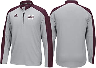 adidas Mississippi State Bulldogs NCAA Men's Grey Sideline Climalite 1/4 Zip Hi-Visibility Reflective Knit