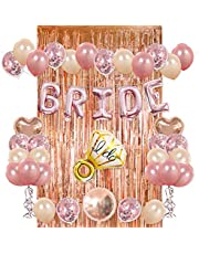 Bride Party Decorations Kit- Rose Gold Foil Fringe Curtain, 20 Latex Balloons, 10 Confetti Balloon, Bride and Ring Heart Round Mylar Balloons for Bachelorette Bridal Shower Party Supplies-s