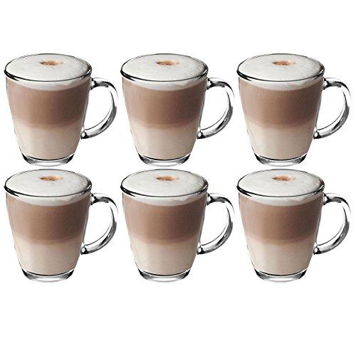 Get Goods Café Latte-Tassen aus gehärtetem Glas, 6-Set für Kaffee/Tee/Espresso/Cappuccino, 350 ml – spülmaschinenfest