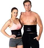 PREMIUM Fitnessgürtel Set – inklusive Gratis Tragetasche und E-Book – hochwertiger Bauchweggürtel mit einzigartiger 3-Lagen Technologie – slimmer belt zum Abnehmen - Bauchmuskelgürtel (schwarz)