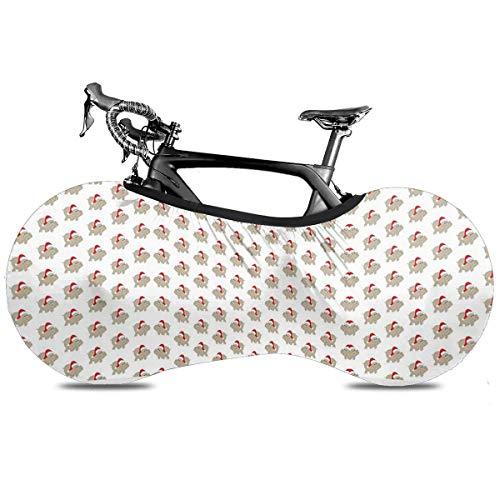 Colorido Mexicano Loteria Portátil Cubierta de Bicicleta Cubierta Interior Anti Polvo Alta Elástica Rueda Cubierta de Bicicleta Protector Rip Stop Neumático Carretera Mtb Bolsa de Almacenamiento, Hipopótamo de Navidad, talla única
