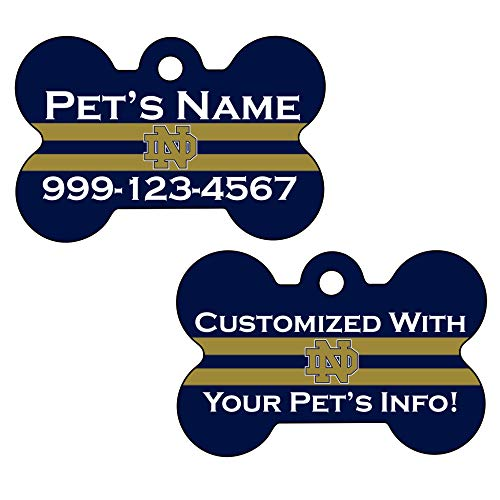 Double Sided NCAA Pet Id Tag for Dogs & Cats Personalized w/ Your Pet's Info (Notre Dame)