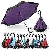 Siepasa Auto-open Reverse Umbrella, Umbrella Windproof, Inverted Umbrella, Umbrellas for Women with UV Protection, Upside Down Umbrella with Safe Reflective Stripe(Purple)