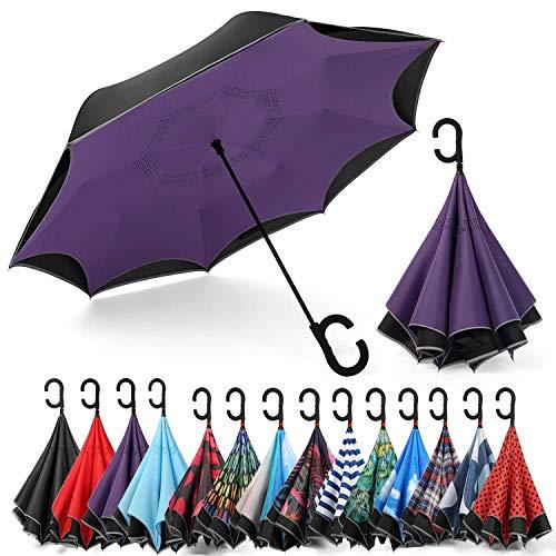 Guarda-chuva reversível Siepasa, guarda-chuva à prova de vento, guarda-chuva invertido, guarda-chuvas para mulheres com proteção UV, guarda-chuva de cabeça para baixo com listras refletivas seguras (roxo)