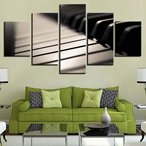 QAZWSY Leinwand Poster Wohnzimmer Dekoration 5 Stücke Klavier Rose Blume Bilder Hd Gedruckt Gemälde Modulare Wandkunst