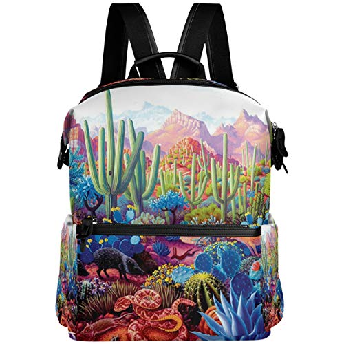 Oarencol Cactus Critters Tropical Animal Mochila escolar Libro Fox Snake Pig Plantas Viajes Senderismo Camping Portátil Daypack