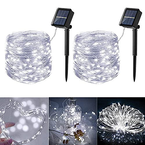 Lomotech 2 Pack Solar String Lights Outdoor, 33ft 100LED 8 Modes Silver Wire Solar String Lights, Waterproof Solar Fairy Lights for Outdoors, Patio, Garden, Party,Wedding,Tree Decorations (White)