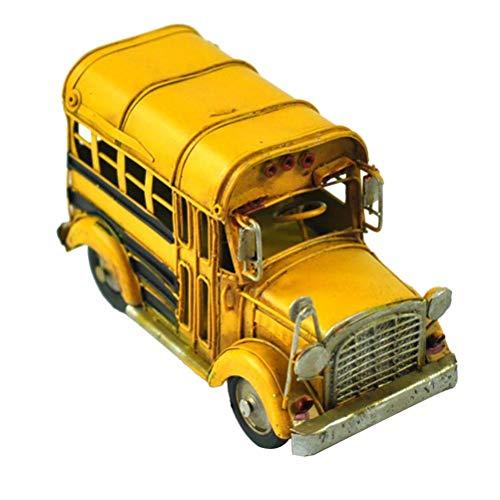 Hzkj-lym Desktop Crafts Schulbus-Legierung Diecast Spielfahrzeuge Vintage-Eisen-Auto-Modell-Skulptur for Haus Bar Club