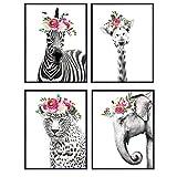 Jungle Animals Floral Watercolor Wall Art Print 4 Posters Set - Home Decor for Girls, Teens or Kids Room, Baby Bedroom, Nursery - Great Shower Gift - 8x10 Unframed - Giraffe, Zebra, Elephant, Leopard