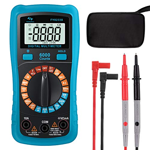 Multímetro Digital T-RMS 6000 Cuentas Tilswall, Anti-sobrecarga y Anti-escaldado, Polimetro Digital para Medir Voltaje Corriente AC DC, Resistencia, Continuidad, Capacitancia y Diodo
