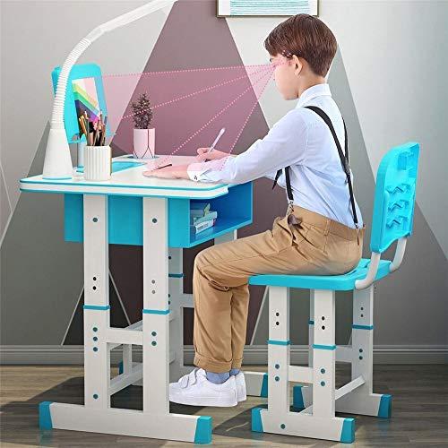 Kacsoo Juego de sillas de Escritorio, Juego de sillas de Escritorio para niños, Ajustable en Altura, para niños, Escuela, Estudio en casa, Mesa de Trabajo, estación de Trabajo con lámpara (Azul)