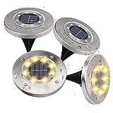 Loekoicy - Set di 4 luci solari da terra, 8 LED, per esterni,...