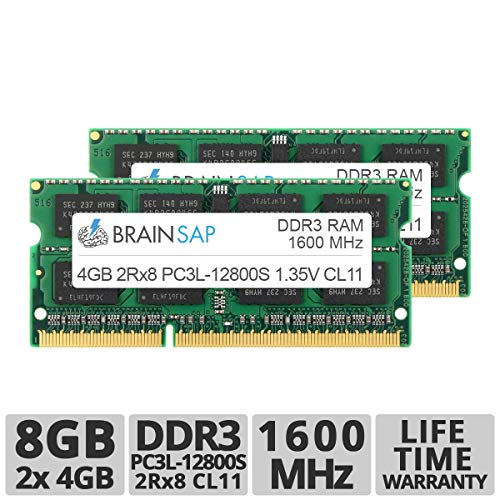 Brainsap 8GB (2X 4GB) DDR3 RAM Dual Channel Kit SO-DIMM DDR3L PC3L-12800S 2Rx8 1600 MHz Arbeitsspeicher - CL11 204 PIN SODIMM - Laptop, Notebook & Netbook
