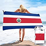 Sunmuchen Costa Rica Badetuch mit Flaggen-Motiv, fürs Fitnessstudio, Strandtuch, Mehrzwecknutzung für Sport, Reisen, super saugfähig, Mikrofaser, weich, schnell trocknend, leicht