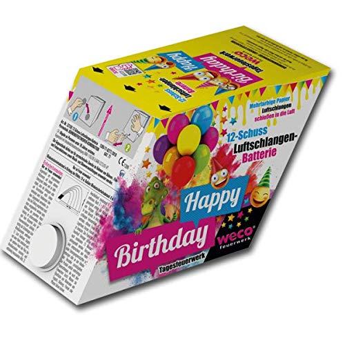 Happy Birthday Tagesfeuerwerks-Batterie mit bunten Luftschlangen