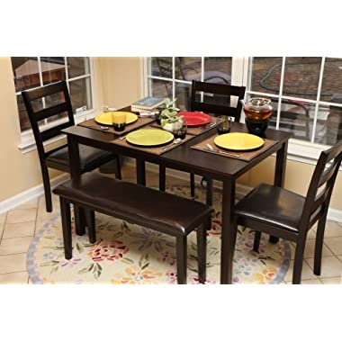 LIFE Home Home Life 5pc Dining Dinette Table Chairs & Bench Set Espresso Finish 150236