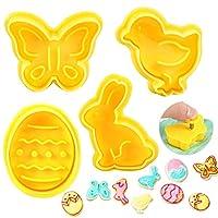 zaloife stampi biscotti pasquali, 4 pcs tagliabiscotti set, formine per biscotti farfalla coniglietto uova di pasqua e pulcino, per torta, pasquale, impugnatura a spirale, design in rilievo