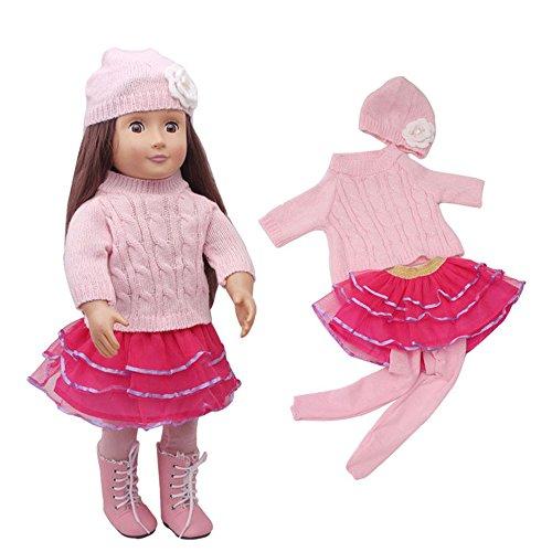 4 Piezas Sombrero Rosa + suéter + Tutu Falda+ Calcetines largas para 18 Pulgadas Americana Chica Muchacha Muñeca Gusspower
