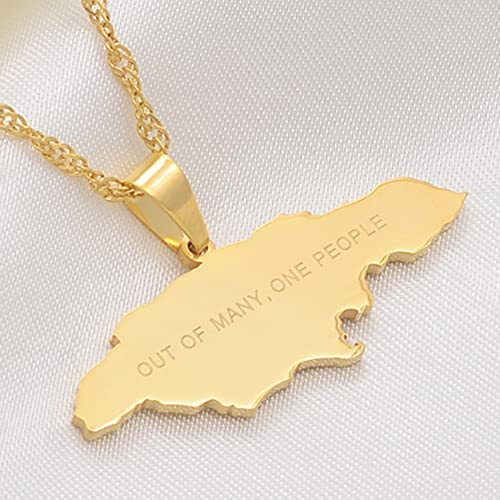 Map of Jamaica With OUT OF MANY, ONE PEOPLE Pendant Necklaces Stainless Steel Jamaica Maps Chains Jewelry Gifts