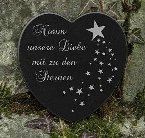 Gedenkstein Sternschnuppe Herz Grabschmuck Marmor Gravur