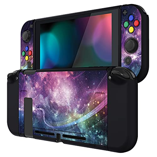 PlayVital Purple Galaxy Protective Case for Nintendo Switch, Soft TPU Slim Case Cover for Nintendo Switch Joy-Con Console with Colorful ABXY Direction Button Caps