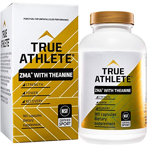 True Athlete ZMA with Theanine Combination of Zinc Magnesium to Help Increase Muscle Strength Power, NSF Certified for Sport (180 Capsules)
