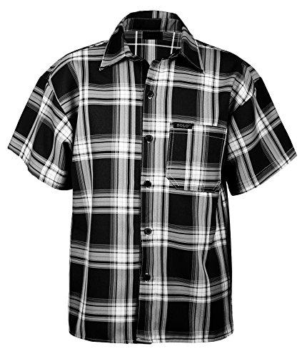 Guytalk Men's Plaid Short Sleeve Button Down Shirts 5XL Black
