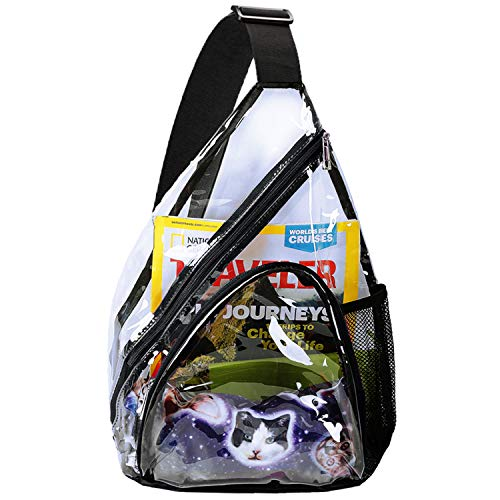 Clear PVC Sling Packs Stadium Approved - Clear Backpack, Heavy Duty See Through Backpack for Women &...
