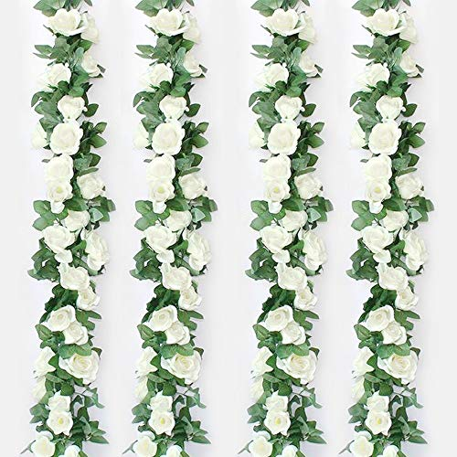Musdoney 4 Pack 32.2 FT Fake Rose Vine Flowers Plants Artificial Flower Hanging Rose Ivy Home Hotel Office Wedding Party Garden Art Decor (Creamy-White)
