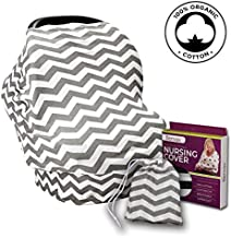 Nursing Cover for Breastfeeding – Ultra Soft and Stretchy Cotton Fabric – Breastfeeding Scarf, Baby Car Seat Cover, Stroller Sunshade – Gift Packaged – Grey & White Chevron with Carrying Bag