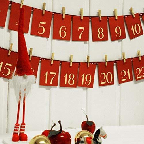 Weddix DIY - Calendario dell'Avvento con Buste, con mollette di Legno e Nastro, 24 Piccole Buste Rosse con mollette in Legno e Nastro Rosso e Bianco