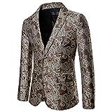 Mens Paisley Formal Tux Suit Jacket 2 Button Floral Dress Blazer Sport Coat Tops