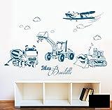 Wandtattoo Wandaufkleber Baustellen Autos Baufahrzeuge Baustelle Bagger Mischer Raupe und Flugzeug mit Wunschnamen M1733 - ausgewählte Farbe: *Schwarz* - ausgewählte Größe: *L - 100cm breit x 65cm*