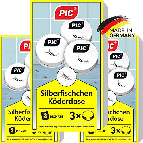 PIC - Silberfisch-Köderdose - 3x3 = 9 Stück - Silberfische bekämpfen durch Wirkstoff Tabletten - Ganz einfach zu verwenden nur die Silberfisch-Köder aufstellen und das Problem vergessen