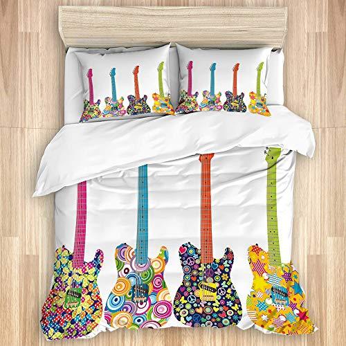 MEJX Juego de Funda de Edredón,Diseño de Guitarras eléctricas con Flores de...